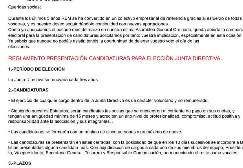 elecciones junta REM 2014